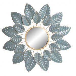 METAL WALL MIRROR WITH LEAVES 88X4X88CM