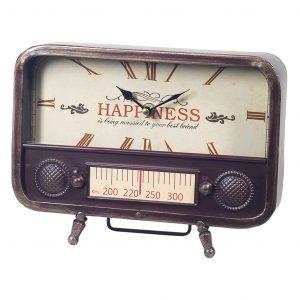 VINTAGE RADIO METAL TABLE CLOCK 26X20X5.5CM